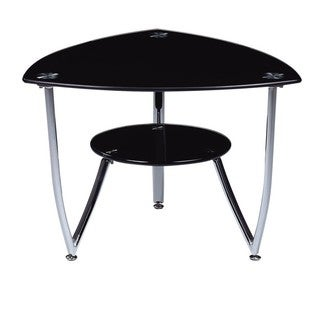 Triangular Black Tempered Glass End Table