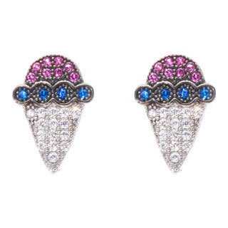 Blue Box Jewels Multi-colored Cubic Zirconia Red-Blue Sherbet Stud Earrings