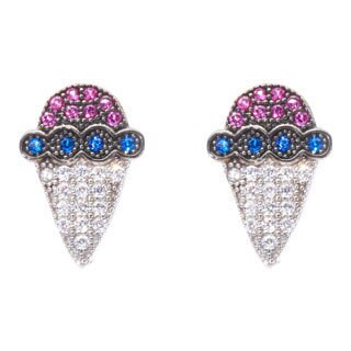 Blue Box Jewels Multi-colored Cubic Zirconia Red-Blue Sherbet Stud Earrings