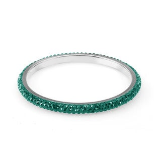 Sterling Silverplated Seagreen Crystals Bangle