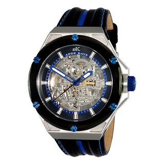 Adee Kaye Men's Black/ Blue Le Gear Collection Watch