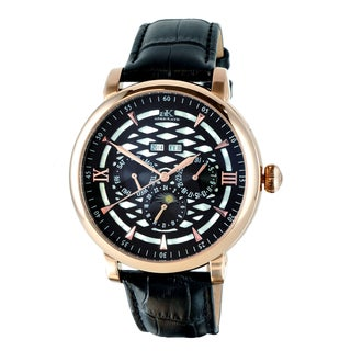 Adee Kaye 'Funzione' Black Dial Goldtone Watch