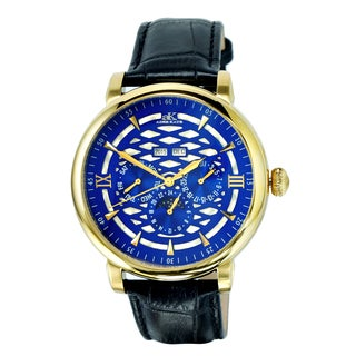 Adee Kaye 'Funzione' Blue Dial Goldtone Watch