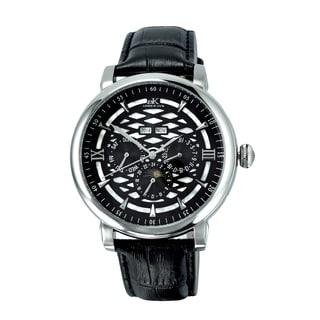 Adee Kaye 'Funzione' Black Dial Silvertone Watch