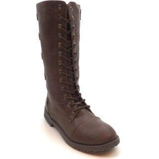 Blue Women's 'Lydi' Mid-calf Combat Boots