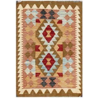 Herat Oriental Afghan Hand-woven Tribal Kilim Red/ Rust Wool Rug (2' x 3')