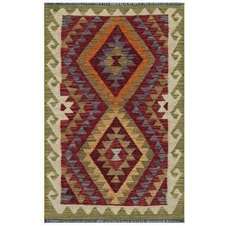 Herat Oriental Afghan Hand-woven Tribal Kilim Burgundy/ Olive Wool Rug (1'11 x 3'1)