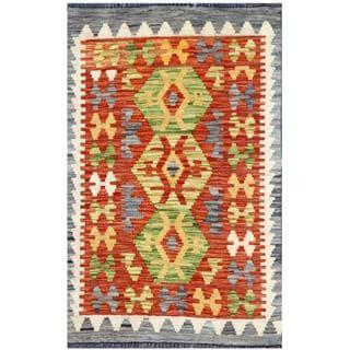 Herat Oriental Afghan Hand-woven Tribal Kilim Rust/ Green Wool Rug (1'11 x 3'2)