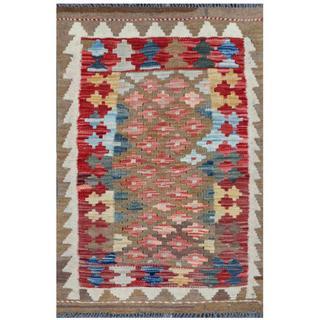Herat Oriental Afghan Hand-woven Tribal Kilim Khaki/ Red Wool Rug (2' x 2'11)