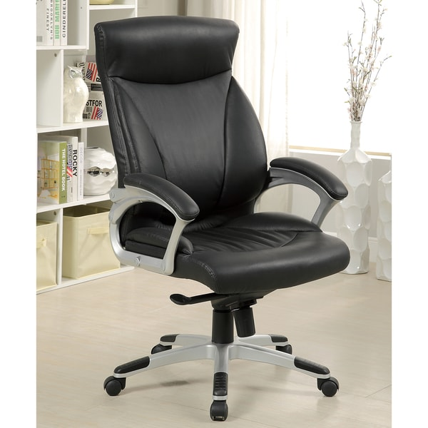Furniture of America Calvin Black Top Grain Leather Executive Chair