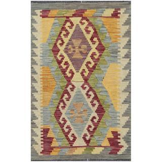 Herat Oriental Afghan Hand-woven Tribal Kilim Burgundy/ Gold Wool Rug (1'10 x 2'11)