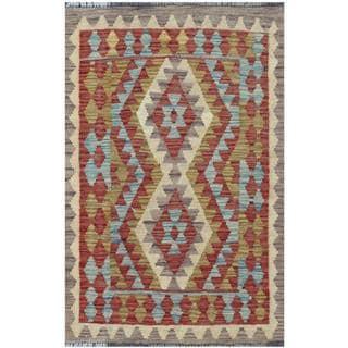 Herat Oriental Afghan Hand-woven Tribal Kilim Burgundy/ Brown Wool Rug (2'1 x 3'2)