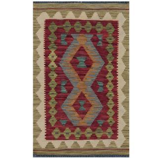 Herat Oriental Afghan Hand-woven Tribal Kilim Burgundy/ Beige Wool Rug (1'10 x 2'8)