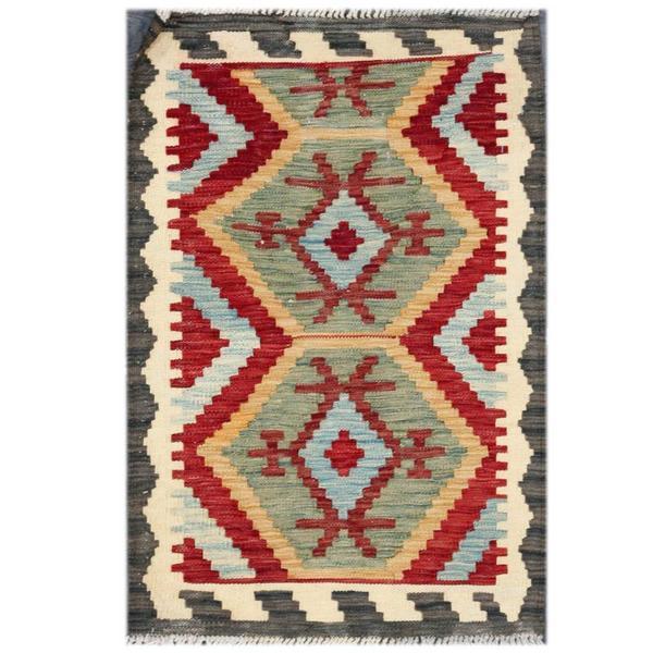 Herat Oriental Afghan Hand-woven Tribal Wool Kilim Rug (1'11 x 2'11) - 1'11 x 2'11