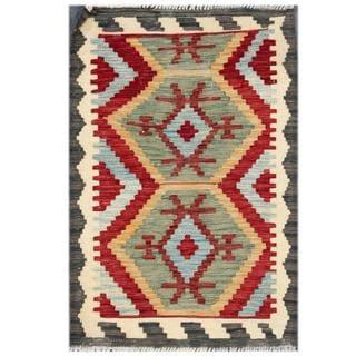 Herat Oriental Afghan Hand-woven Tribal Kilim Red/ Beige Wool Rug (1'11 x 2'11)