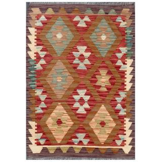 Herat Oriental Afghan Hand-woven Tribal Kilim Red/ Brown Wool Rug (2'1 x 2'10)