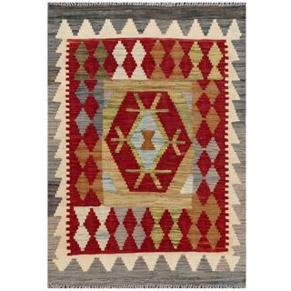 Herat Oriental Afghan Hand-woven Tribal Kilim Red/ Beige Wool Rug (2'1 x 3')