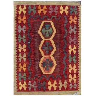 Herat Oriental Afghan Hand-woven Tribal Kilim Burgundy/ Red Wool Rug (2'1 x 2'10)