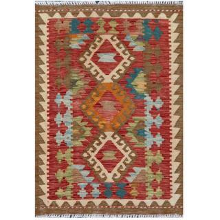 Herat Oriental Afghan Hand-woven Tribal Kilim Red/ Beige Wool Rug (2' x 2'10)