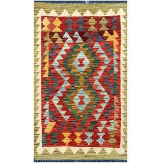 Herat Oriental Afghan Hand-woven Tribal Kilim Red/ Light Green Wool Rug (1'9 x 2'11)