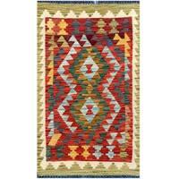 Handmade Herat Oriental Afghan Tribal Wool Kilim - 1'9 x 2'11 (Afghanistan)