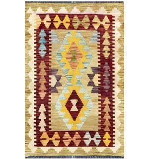 Herat Oriental Afghan Hand-woven Tribal Kilim Beige/Burgundy Wool Rug (2' x 3')