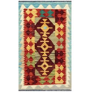 Herat Oriental Afghan Hand-woven Tribal Kilim Burgundy/ Rust Wool Rug (1'8 x 2'10)