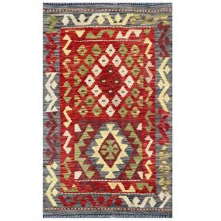 Herat Oriental Afghan Hand-woven Tribal Kilim Red/ Gray Wool Rug (1'11 x 3'2)