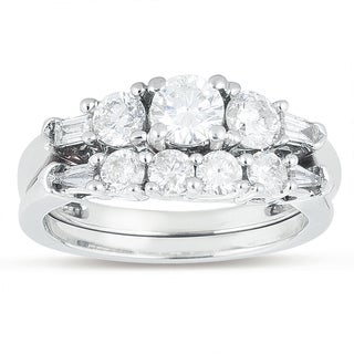 14k White Gold 1 1/3ct TDW Round Diamond Engagement Ring Set (H-I, I1-I2)