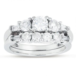 14k White Gold 1 1/3ct TDW Round Diamond Engagement Ring Set