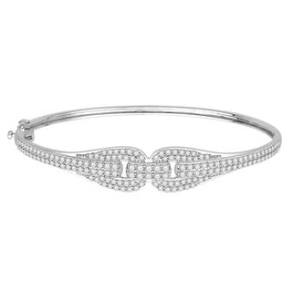 14k White Gold 1 1/2ct TDW Diamond Bangle Bracelet (H-I, I1-I2)