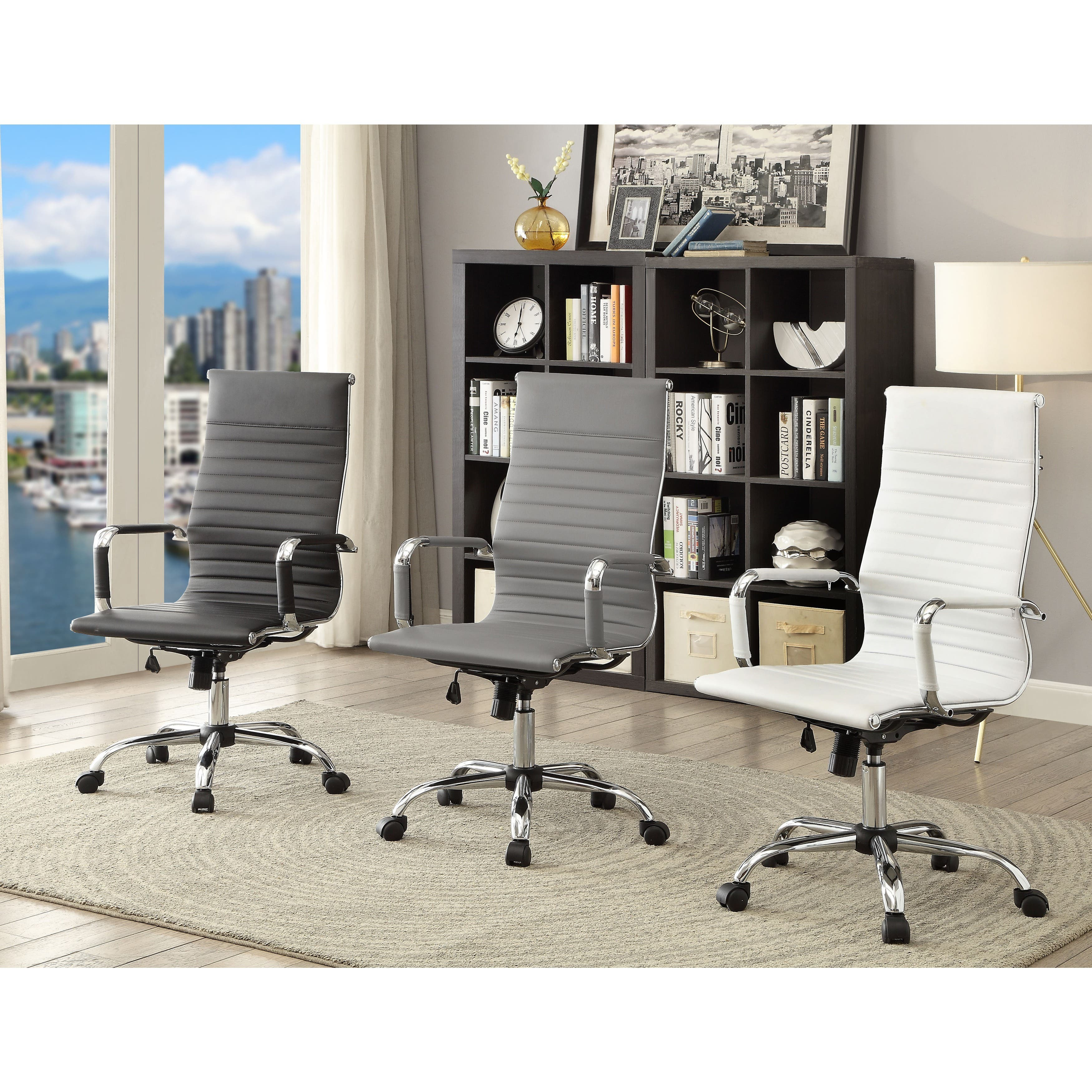 Furniture of America Kimmel Ribbed High Back Office Chair