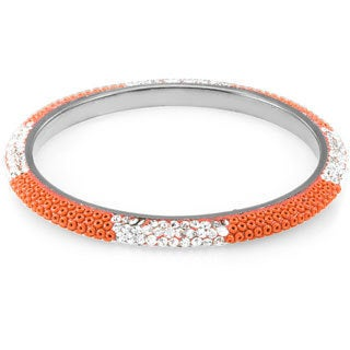 Sterling Silverplated Coral Beads and Clear Crystals Bangle