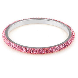 Sterling Silverplated Rose Crystals Bangle