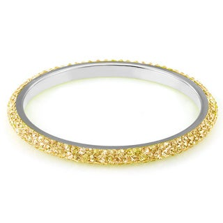 Sterling Silver Plated Gold Crystals Bangle
