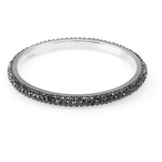 Sterling Silverplated Black Crystal Bangle