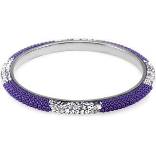 Sterling Silverplated Montana Blue Bead and Clear Crystal Bangle