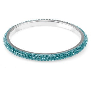 Sterling Silverplated Sky Blue Crystal Bangle