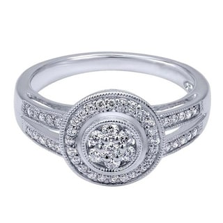 14k White Gold 1/3 TDW Diamond Halo Ring (H-I, I1-I2)