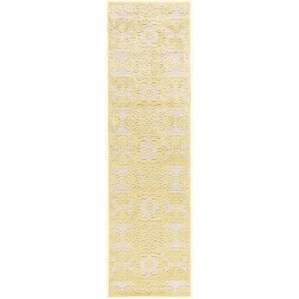 """Rug Squared Corona Yellow Rug - 2'3"""" x 8' Runner"""