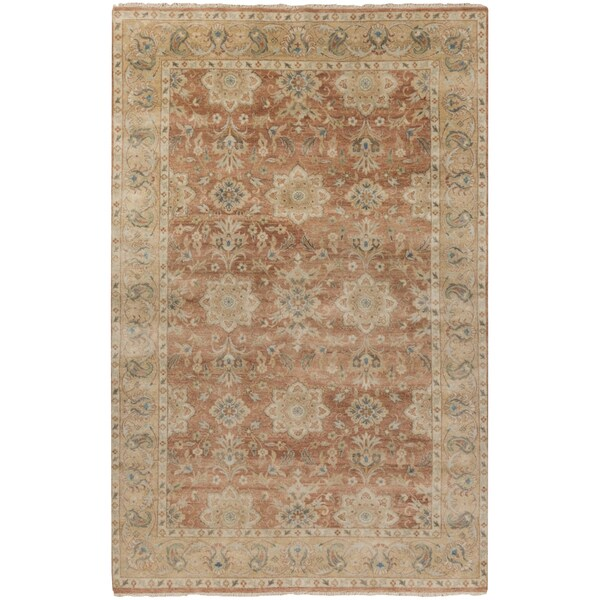 Hand-Knotted Bryn Border New Zealand Wool Area Rug - 8' x 11'