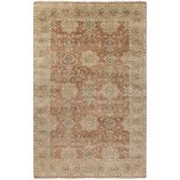 Hand-Knotted Bryn Border New Zealand Wool Area Rug (8' x 11') - 8' x 11'