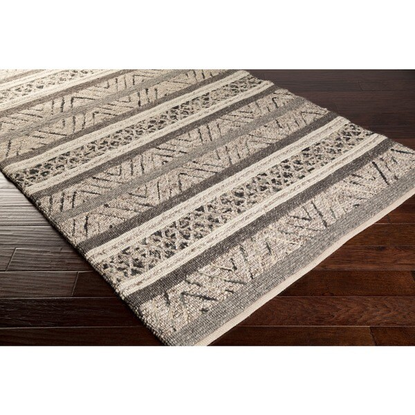 Chevron Accent Rug: Hand-Woven Roger Chevron Wool Area Rug (2' X 3')