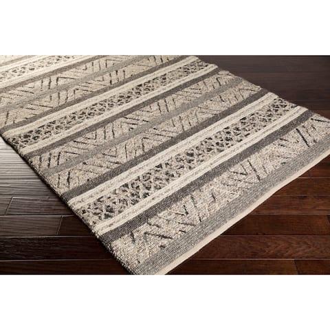Carbon Loft Schmidt Black/ Ivory Chevron Wool Area Rug - 8' x 10'