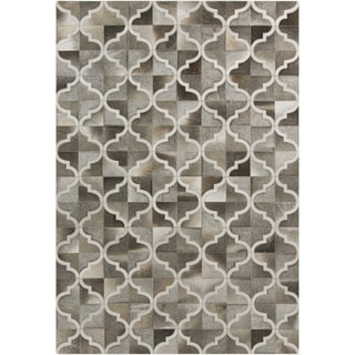 Hand-Crafted Michael Moroccan Trellis Hair On Hide Rug (2' x 3')