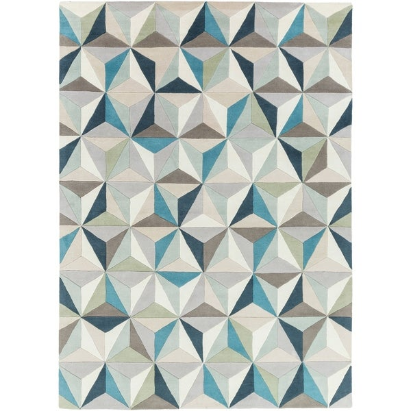 Hand-Tufted Roselyn Geometric Wool Area Rug - 8' x 11'