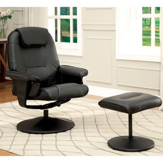 Furniture of America Collins 2-Piece Swivel Lounger and Ottoman Set