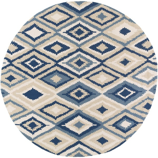 handhooked bill kilim rug ' round  free shipping today, round kilim rug