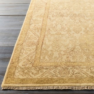 Hand-Knotted Pat Border New Zealand Wool Rug (8' x 11')