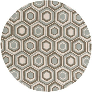 Hand-Hooked Dave Geometric Rug (8' R
